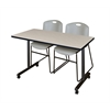 "48"" x 24"" Kobe Mobile Training Table- Maple & 2 Zeng Stack Chairs- Grey"