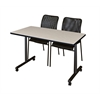 "48"" x 24"" Kobe Mobile Training Table- Maple & 2 Mario Stack Chairs- Black"