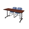 """60"""" x 24"""" Kobe Mobile Training Table- Cherry & 2 Zeng Stack Chairs- Blue"""