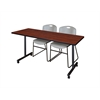 "60"" x 24"" Kobe Mobile Training Table- Cherry & 2 Zeng Stack Chairs- Grey"