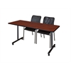 "60"" x 24"" Kobe Mobile Training Table- Cherry & 2 Mario Stack Chairs- Black"
