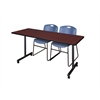 """60"""" x 24"""" Kobe Mobile Training Table- Mahogany & 2 Zeng Stack Chairs- Blue"""