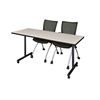 "60"" x 24"" Kobe Mobile Training Table- Maple & 2 Apprentice Chairs- Black"