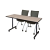 "66"" x 24"" Kobe Mobile Training Table- Beige & 2 Apprentice Chairs- Black"