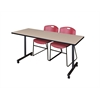 "66"" x 24"" Kobe Mobile Training Table- Beige & 2 Zeng Stack Chairs- Burgundy"