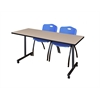 "66"" x 24"" Kobe Mobile Training Table- Beige & 2 'M' Stack Chairs- Blue"