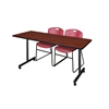 "66"" x 24"" Kobe Mobile Training Table- Cherry & 2 Zeng Stack Chairs- Burgundy"