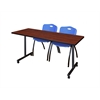 "66"" x 24"" Kobe Mobile Training Table- Cherry & 2 'M' Stack Chairs- Blue"