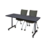 "66"" x 24"" Kobe Mobile Training Table- Grey & 2 Apprentice Chairs- Black"