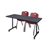 "66"" x 24"" Kobe Mobile Training Table- Grey & 2 'M' Stack Chairs- Burgundy"