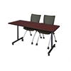 "66"" x 24"" Kobe Mobile Training Table- Mahogany & 2 Apprentice Chairs- Black"