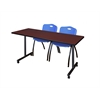 "66"" x 24"" Kobe Mobile Training Table- Mahogany & 2 'M' Stack Chairs- Blue"
