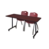 "66"" x 24"" Kobe Mobile Training Table- Mahogany & 2 'M' Stack Chairs- Burgundy"