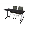 "66"" x 24"" Kobe Mobile Training Table- Mocha Walnut & 2 Apprentice Chairs- Black"