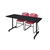 "66"" x 24"" Kobe Mobile Training Table- Mocha Walnut & 2 Zeng Stack Chairs- Burgundy"