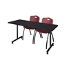"66"" x 24"" Kobe Mobile Training Table- Mocha Walnut & 2 'M' Stack Chairs- Burgundy"