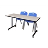 """66"""" x 24"""" Kobe Mobile Training Table- Maple & 2 'M' Stack Chairs- Blue"""