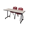 """66"""" x 24"""" Kobe Mobile Training Table- Maple & 2 'M' Stack Chairs- Burgundy"""