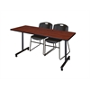 """72"""" x 24"""" Kobe Mobile Training Table- Cherry & 2 Zeng Stack Chairs- Black"""