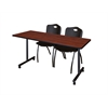 "72"" x 24"" Kobe Mobile Training Table- Cherry & 2 'M' Stack Chairs- Black"