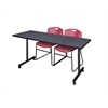 "72"" x 24"" Kobe Mobile Training Table- Grey & 2 Zeng Stack Chairs- Burgundy"