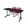 "72"" x 24"" Kobe Mobile Training Table- Mocha Walnut & 2 Zeng Stack Chairs- Burgundy"