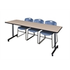"""84"""" x 24"""" Kobe Mobile Training Table- Beige & 3 Zeng Stack Chairs- Blue"""