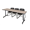 """84"""" x 24"""" Kobe Mobile Training Table- Beige & 3 Zeng Stack Chairs- Black"""
