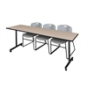 "84"" x 24"" Kobe Mobile Training Table- Beige & 3 Zeng Stack Chairs- Grey"