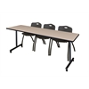 "84"" x 24"" Kobe Mobile Training Table- Beige & 3 'M' Stack Chairs- Black"