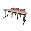 "84"" x 24"" Kobe Mobile Training Table- Beige & 3 'M' Stack Chairs- Burgundy"