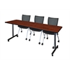 "84"" x 24"" Kobe Mobile Training Table- Cherry & 3 Apprentice Chairs- Black"
