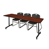 "84"" x 24"" Kobe Mobile Training Table- Cherry & 3 Zeng Stack Chairs- Black"