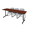 "84"" x 24"" Kobe Mobile Training Table- Cherry & 3 Zeng Stack Chairs- Grey"