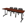 "84"" x 24"" Kobe Mobile Training Table- Cherry & 3 'M' Stack Chairs- Black"