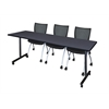 "84"" x 24"" Kobe Mobile Training Table- Grey & 3 Apprentice Chairs- Black"
