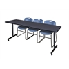 "84"" x 24"" Kobe Mobile Training Table- Grey & 3 Zeng Stack Chairs- Blue"