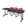 "84"" x 24"" Kobe Mobile Training Table- Grey & 3 Zeng Stack Chairs- Burgundy"