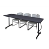 "84"" x 24"" Kobe Mobile Training Table- Grey & 3 Zeng Stack Chairs- Grey"