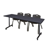 "84"" x 24"" Kobe Mobile Training Table- Grey & 3 'M' Stack Chairs- Black"