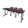"84"" x 24"" Kobe Mobile Training Table- Grey & 3 'M' Stack Chairs- Burgundy"