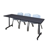 "84"" x 24"" Kobe Mobile Training Table- Grey & 3 'M' Stack Chairs- Grey"