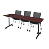 "84"" x 24"" Kobe Mobile Training Table- Mahogany & 3 Apprentice Chairs- Black"