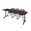 """84"""" x 24"""" Kobe Mobile Training Table- Mahogany & 3 Zeng Stack Chairs- Blue"""