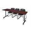 "84"" x 24"" Kobe Mobile Training Table- Mahogany & 3 Zeng Stack Chairs- Black"