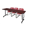 "84"" x 24"" Kobe Mobile Training Table- Mahogany & 3 Zeng Stack Chairs- Burgundy"