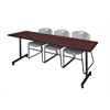 "84"" x 24"" Kobe Mobile Training Table- Mahogany & 3 Zeng Stack Chairs- Grey"