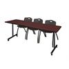 "84"" x 24"" Kobe Mobile Training Table- Mahogany & 3 'M' Stack Chairs- Black"