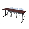 "84"" x 24"" Kobe Mobile Training Table- Mahogany & 3 'M' Stack Chairs- Grey"
