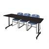 "84"" x 24"" Kobe Mobile Training Table- Mocha Walnut & 3 Zeng Stack Chairs- Blue"